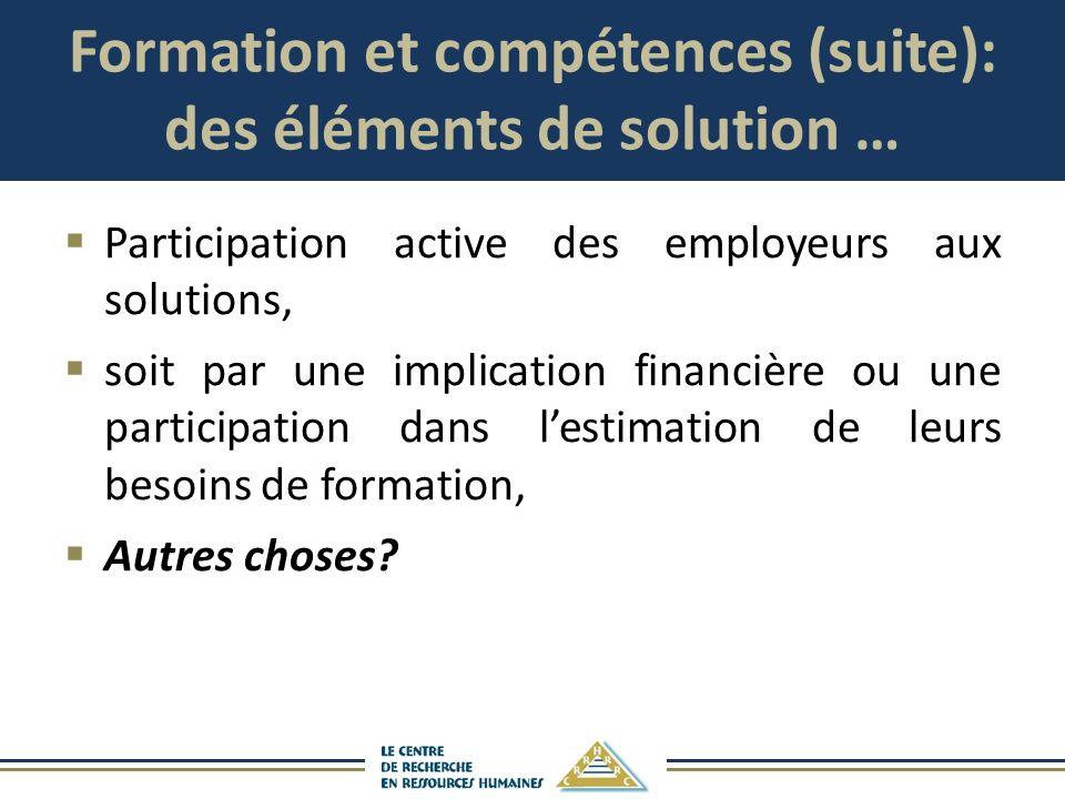Formation et compétences (suite): des éléments de solution …