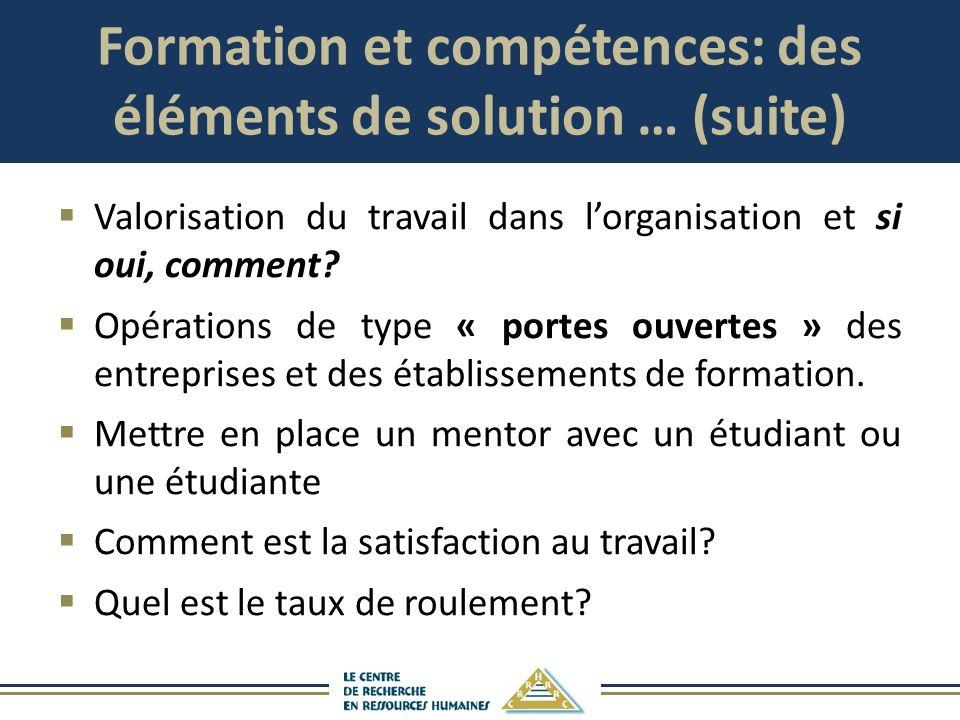 Formation et compétences: des éléments de solution … (suite)