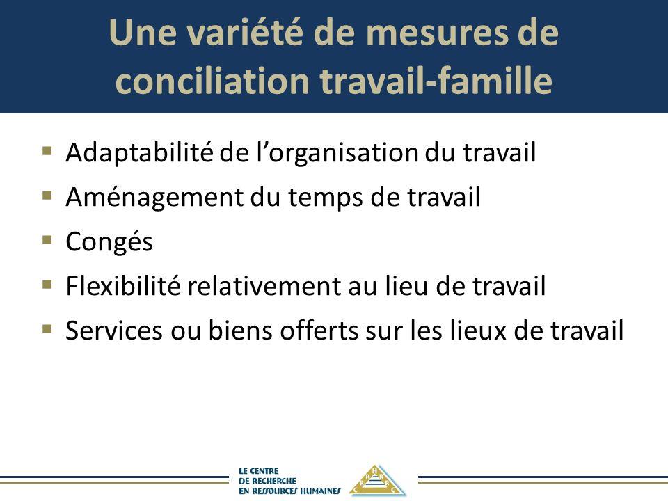 Une variété de mesures de conciliation travail-famille