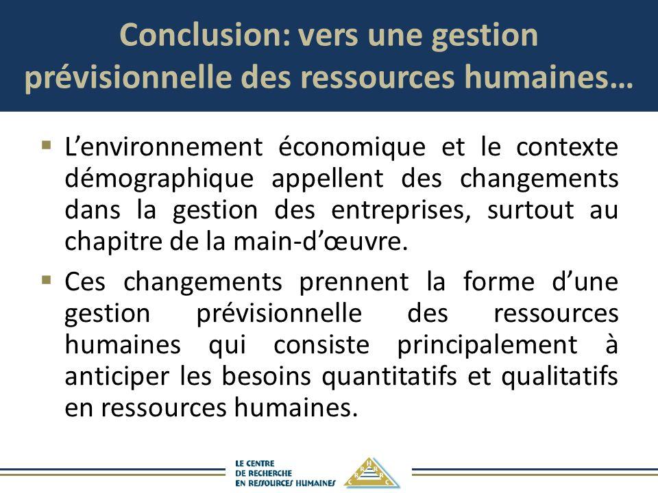 Conclusion: vers une gestion prévisionnelle des ressources humaines…