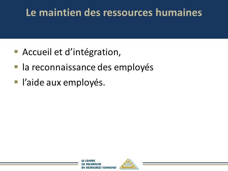 Le maintien des ressources humaines
