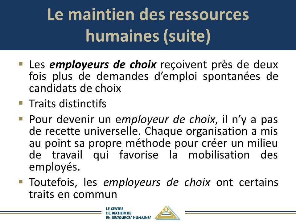 Le maintien des ressources humaines (suite)