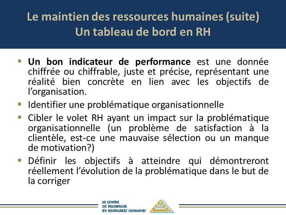Le maintien des ressources humaines (suite) Un tableau de bord en RH