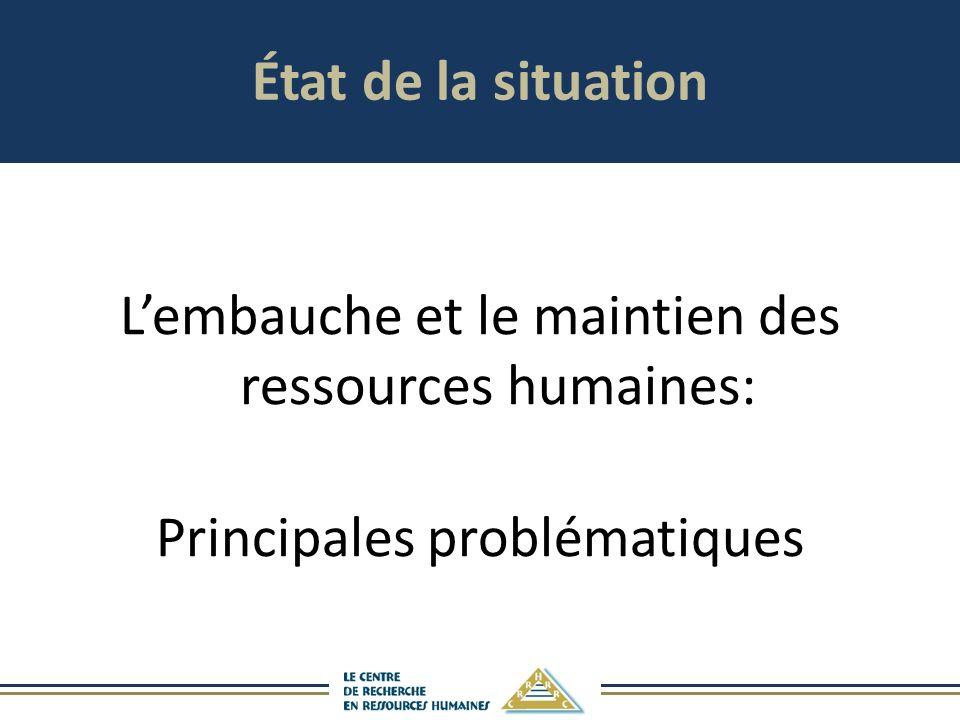 État de la situation L'embauche et le maintien des ressources humaines: Principales problématiques