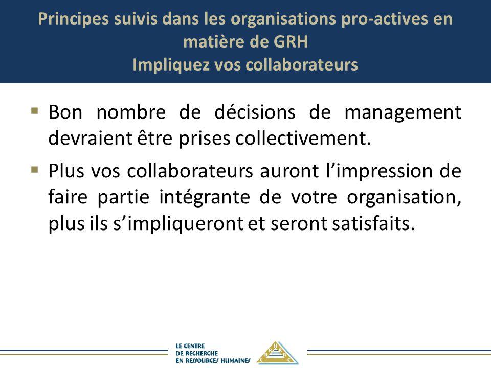 Principes suivis dans les organisations pro-actives en matière de GRH Impliquez vos collaborateurs