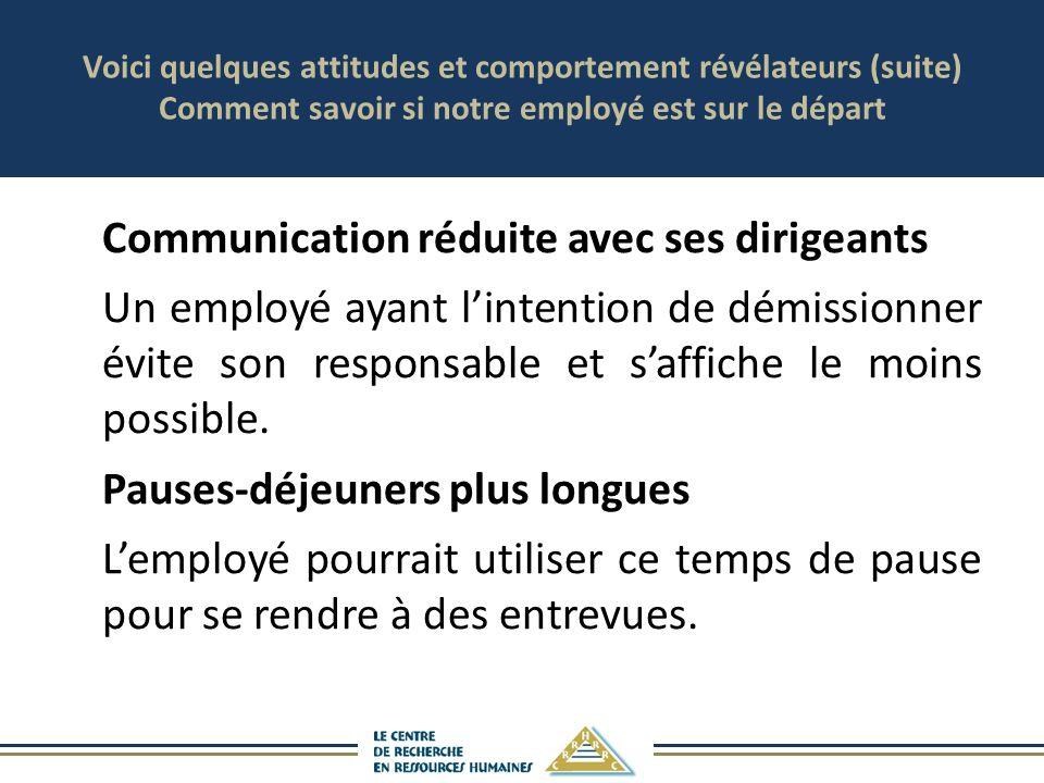 Voici quelques attitudes et comportement révélateurs (suite) Comment savoir si notre employé est sur le départ
