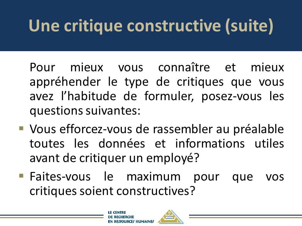 Une critique constructive (suite)
