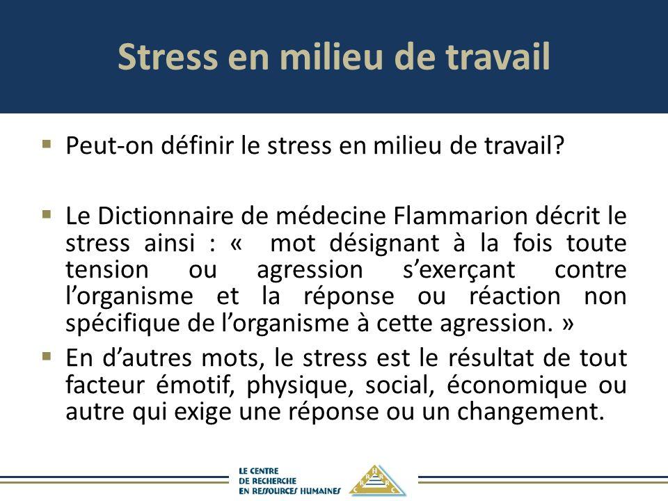 Stress en milieu de travail