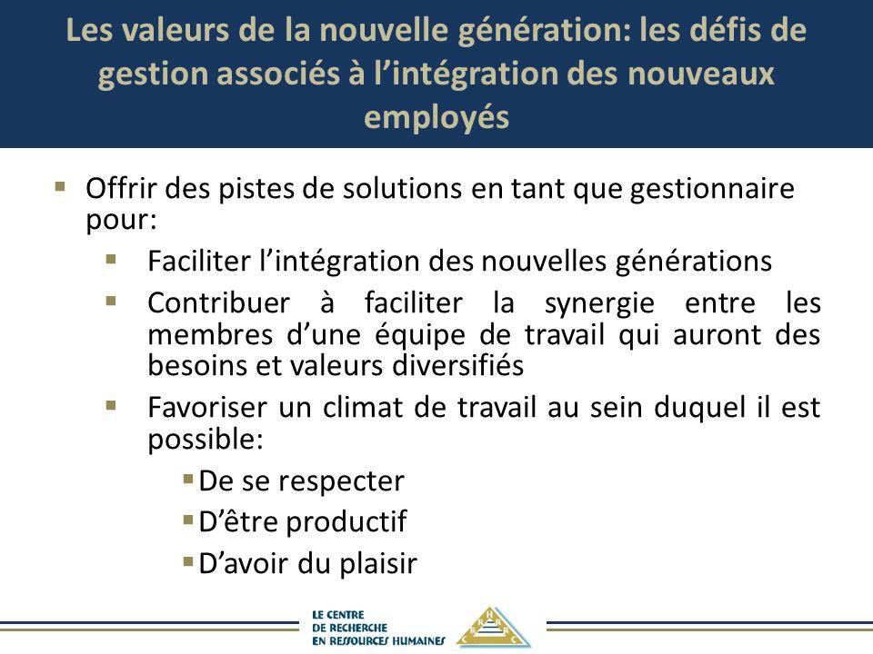 Les valeurs de la nouvelle génération: les défis de gestion associés à l'intégration des nouveaux employés