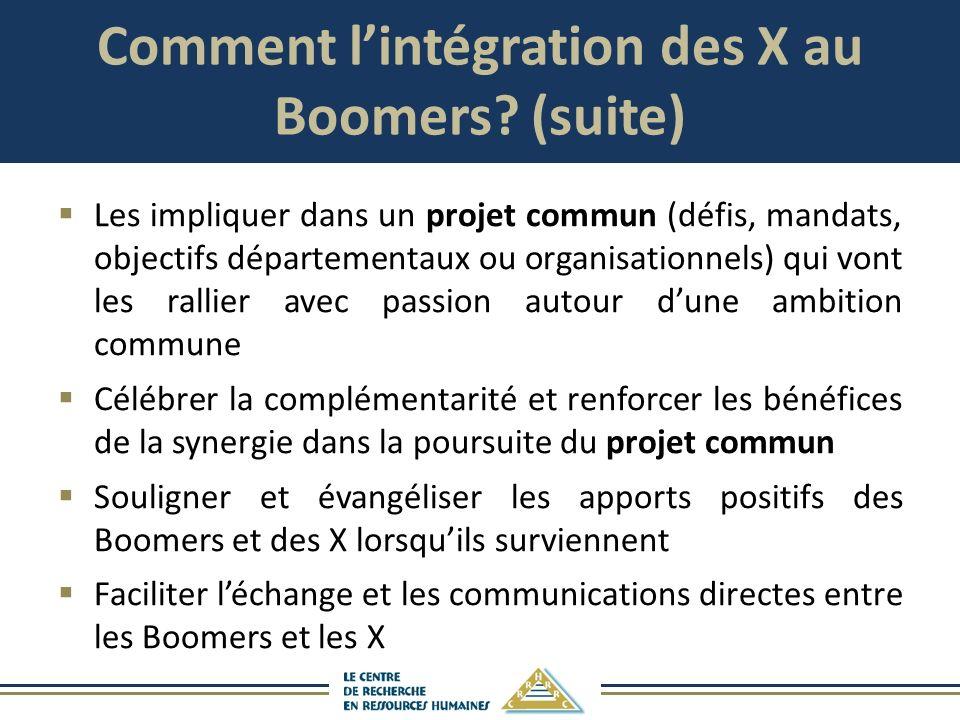 Comment l'intégration des X au Boomers (suite)