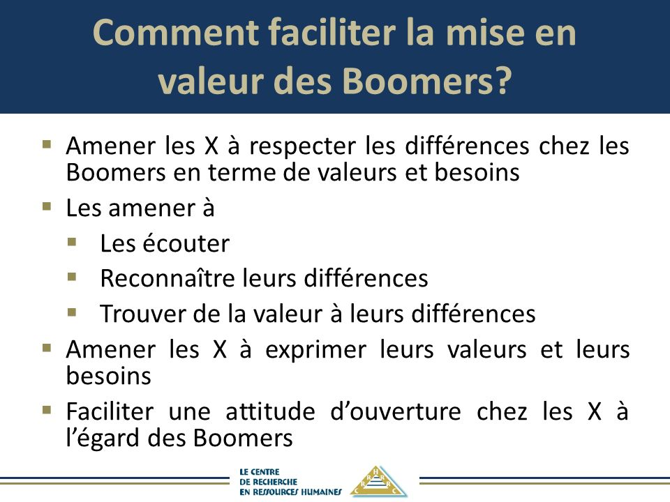 Comment faciliter la mise en valeur des Boomers