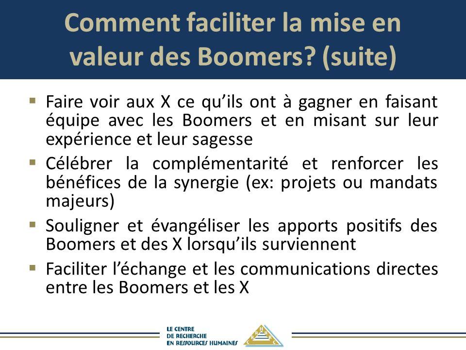 Comment faciliter la mise en valeur des Boomers (suite)