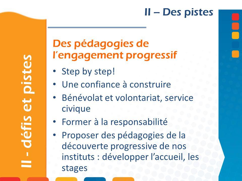 Des pédagogies de l'engagement progressif