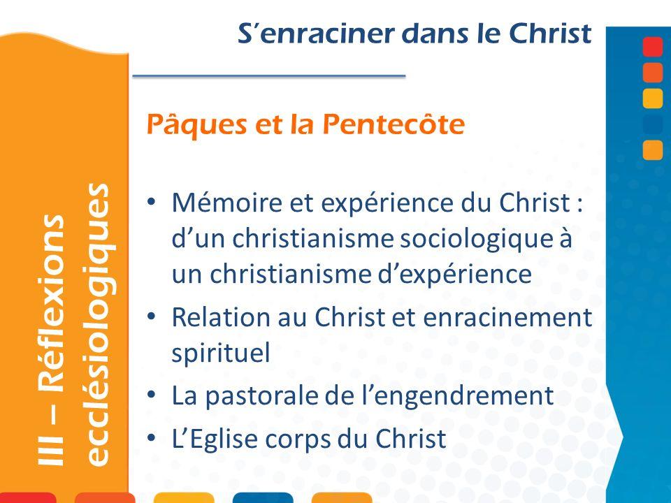 III – Réflexions ecclésiologiques