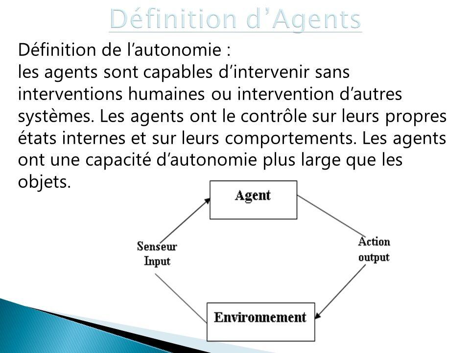 Définition d'Agents Définition de l'autonomie :