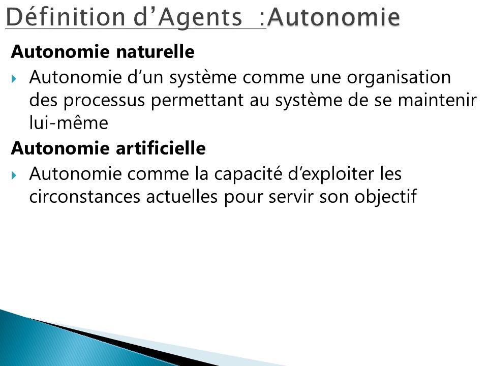 Définition d'Agents :Autonomie