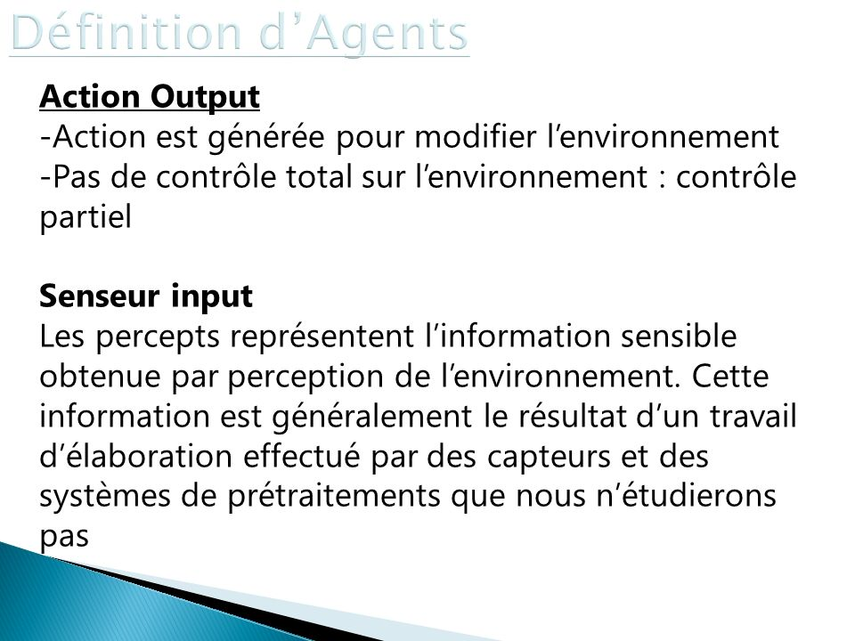 Définition d'Agents Action Output