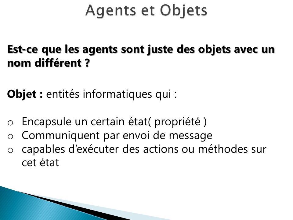 Agents et Objets Est-ce que les agents sont juste des objets avec un nom différent Objet : entités informatiques qui :