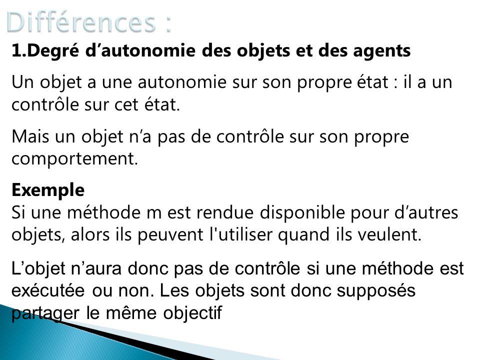 Différences : 1.Degré d'autonomie des objets et des agents