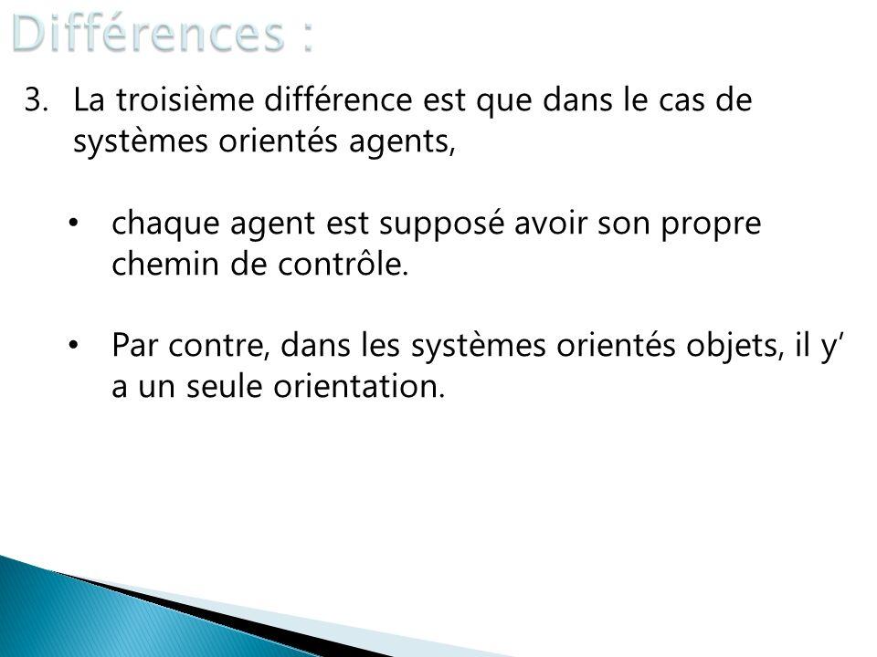 Différences : La troisième différence est que dans le cas de systèmes orientés agents, chaque agent est supposé avoir son propre chemin de contrôle.