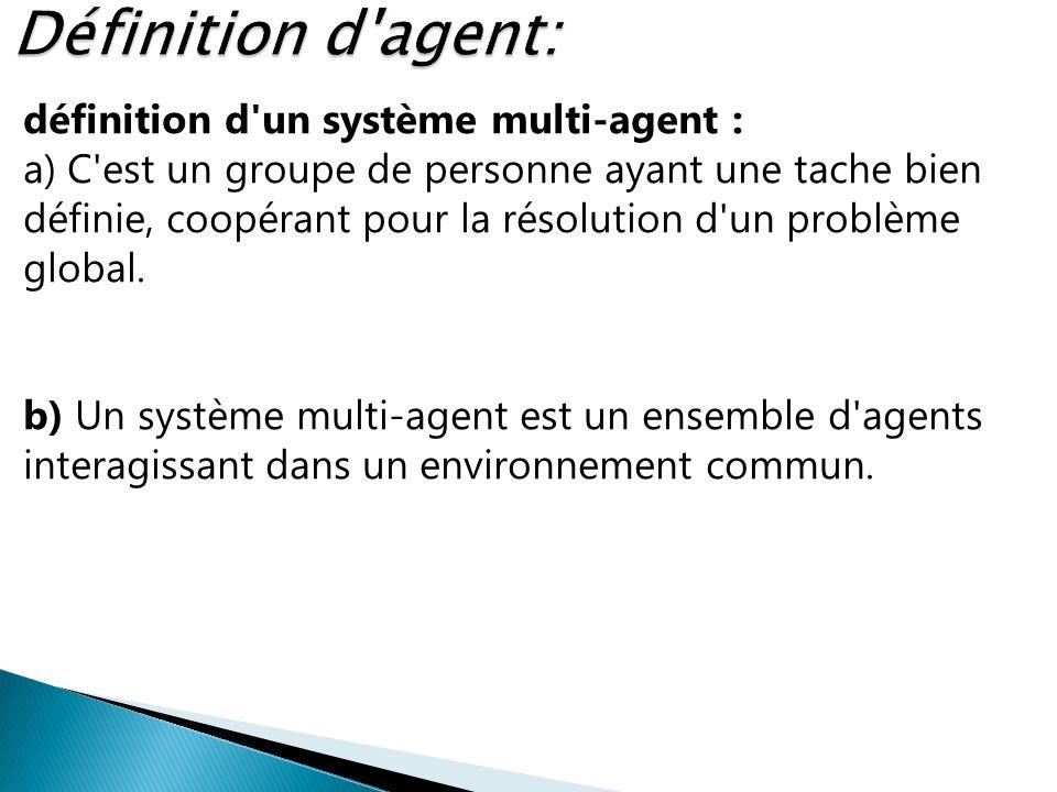 Définition d agent: définition d un système multi-agent :