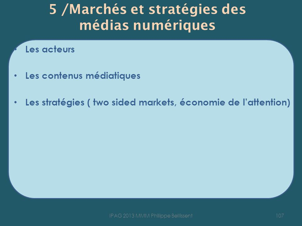 5 /Marchés et stratégies des médias numériques