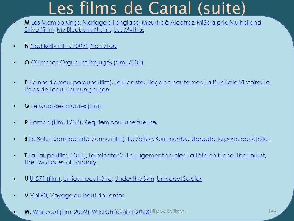 Les films de Canal (suite)