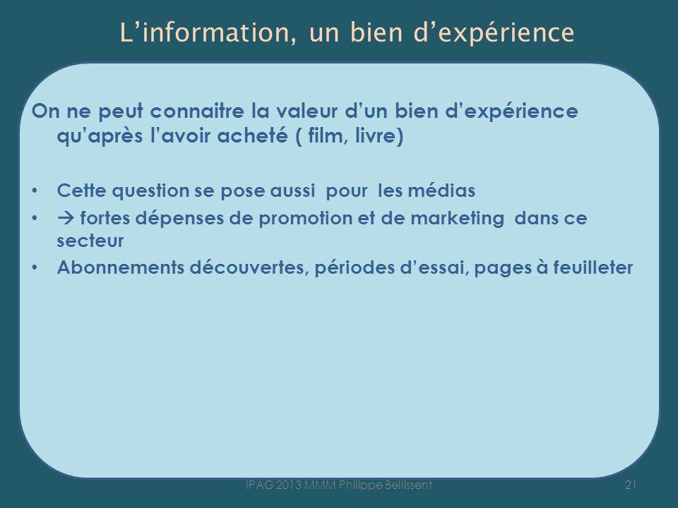 L'information, un bien d'expérience