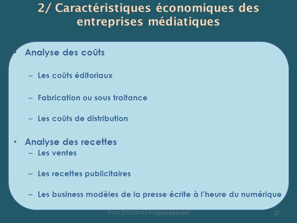 2/ Caractéristiques économiques des entreprises médiatiques
