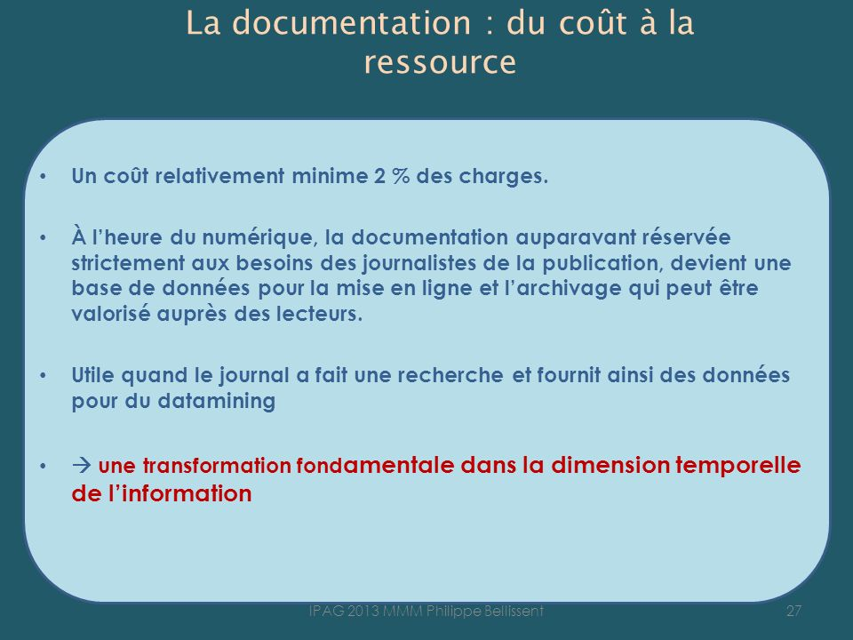 La documentation : du coût à la ressource
