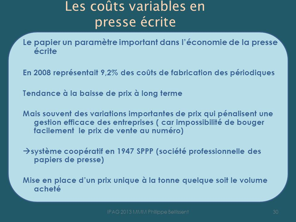 Les coûts variables en presse écrite