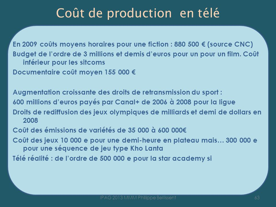 Coût de production en télé