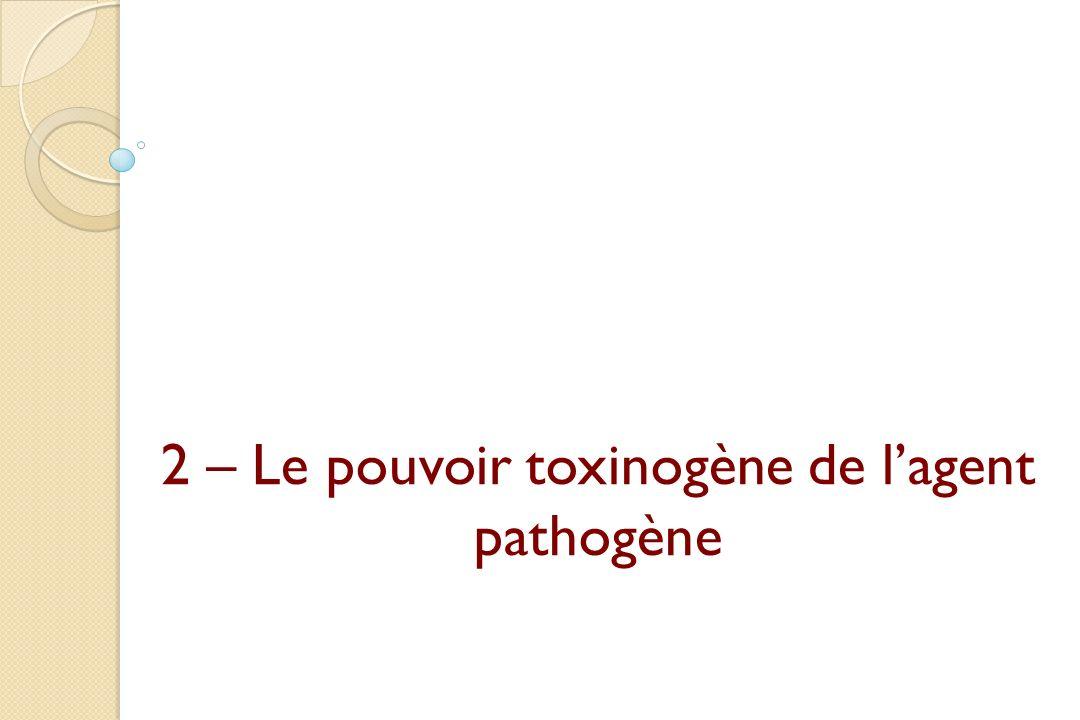 2 – Le pouvoir toxinogène de l'agent pathogène