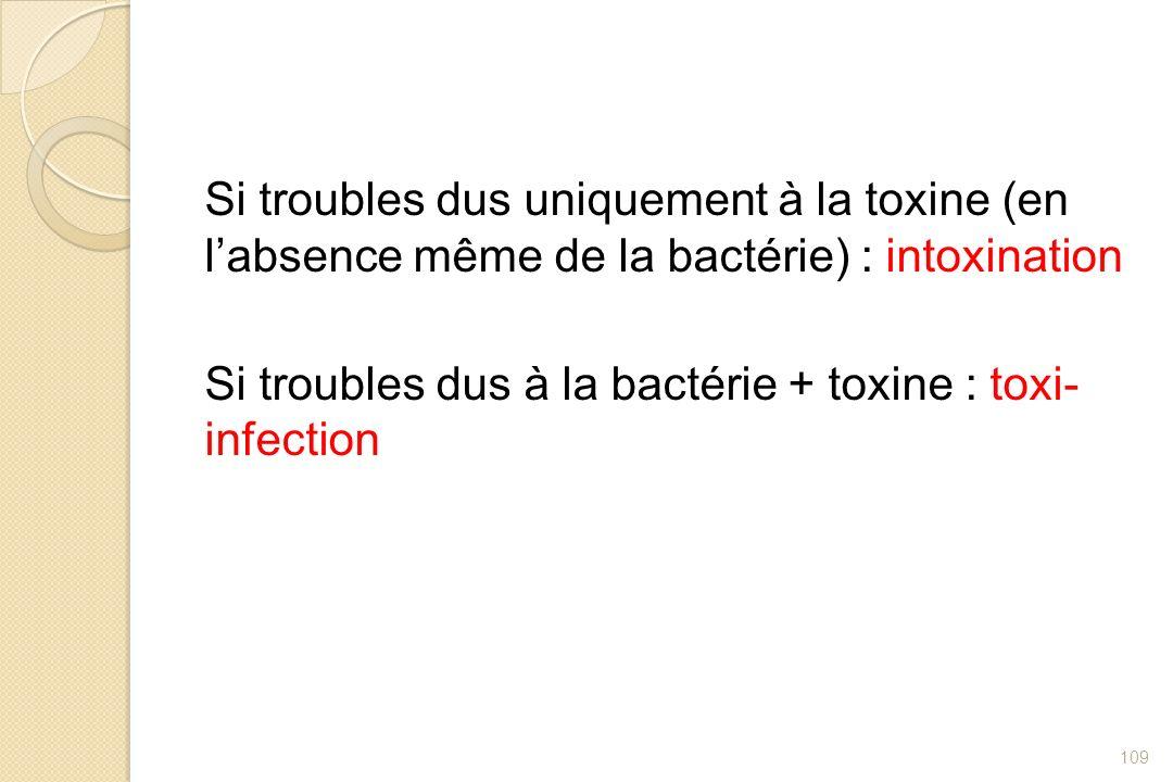Si troubles dus uniquement à la toxine (en l'absence même de la bactérie) : intoxination Si troubles dus à la bactérie + toxine : toxi- infection