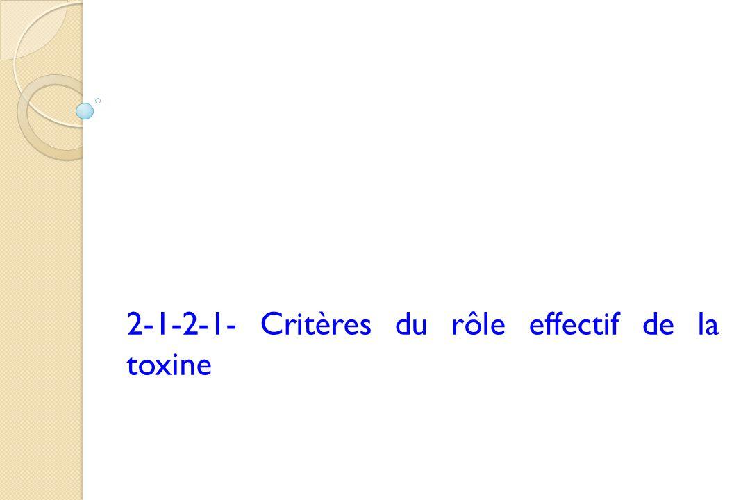 2-1-2-1- Critères du rôle effectif de la toxine