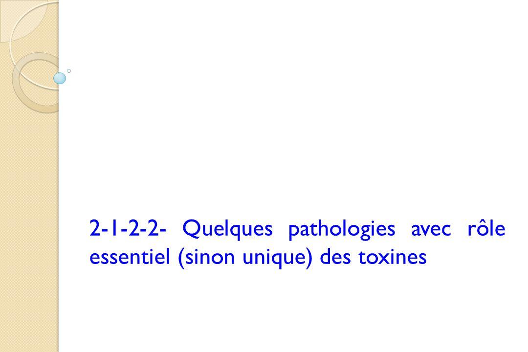 2-1-2-2- Quelques pathologies avec rôle essentiel (sinon unique) des toxines