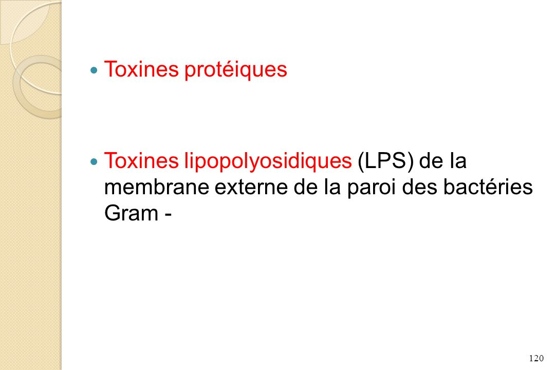 Toxines protéiques Toxines lipopolyosidiques (LPS) de la membrane externe de la paroi des bactéries Gram -