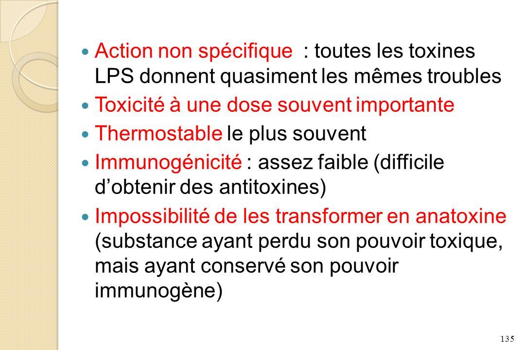 Action non spécifique : toutes les toxines LPS donnent quasiment les mêmes troubles