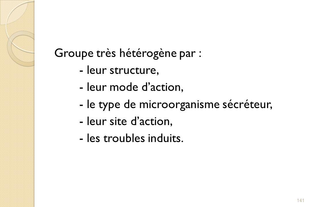 Groupe très hétérogène par : - leur structure, - leur mode d'action, - le type de microorganisme sécréteur, - leur site d'action, - les troubles induits.