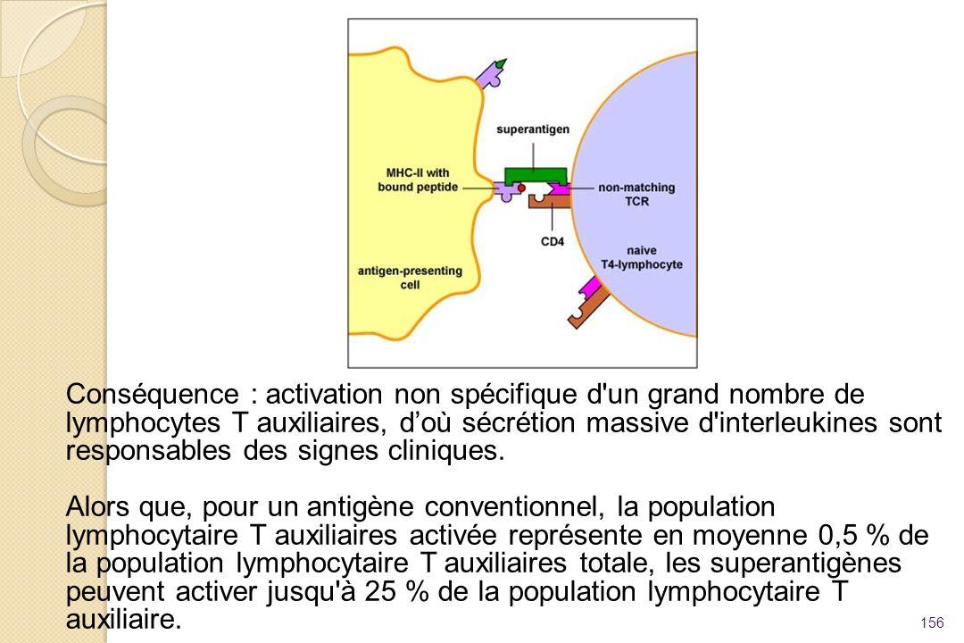 Conséquence : activation non spécifique d un grand nombre de lymphocytes T auxiliaires, d'où sécrétion massive d interleukines sont responsables des signes cliniques.