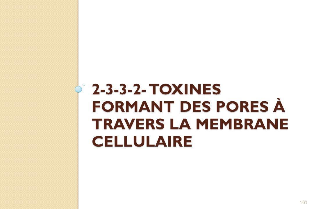 2-3-3-2- Toxines formant des pores à travers la membrane cellulaire