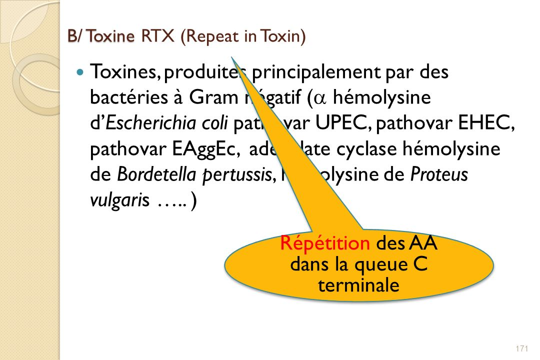 B/ Toxine RTX (Repeat in Toxin)