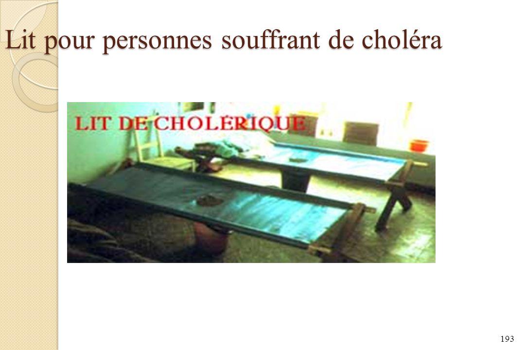 Lit pour personnes souffrant de choléra
