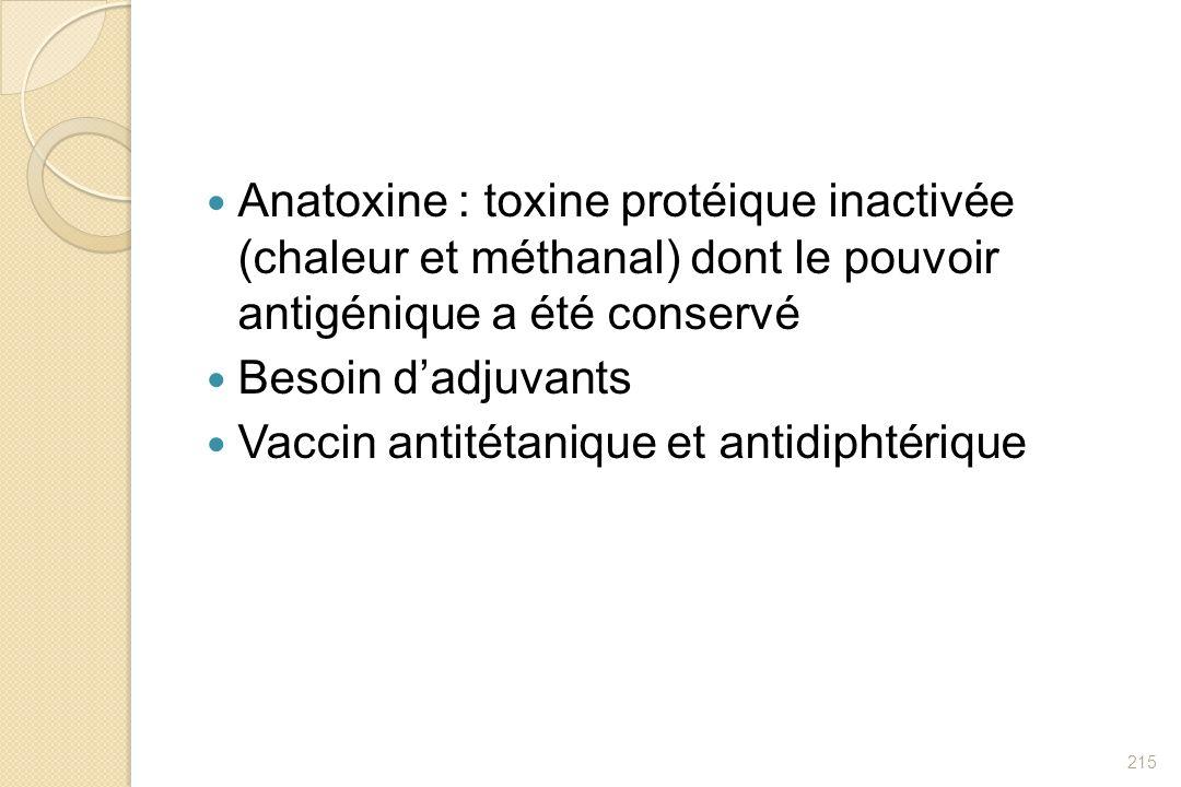 Anatoxine : toxine protéique inactivée (chaleur et méthanal) dont le pouvoir antigénique a été conservé