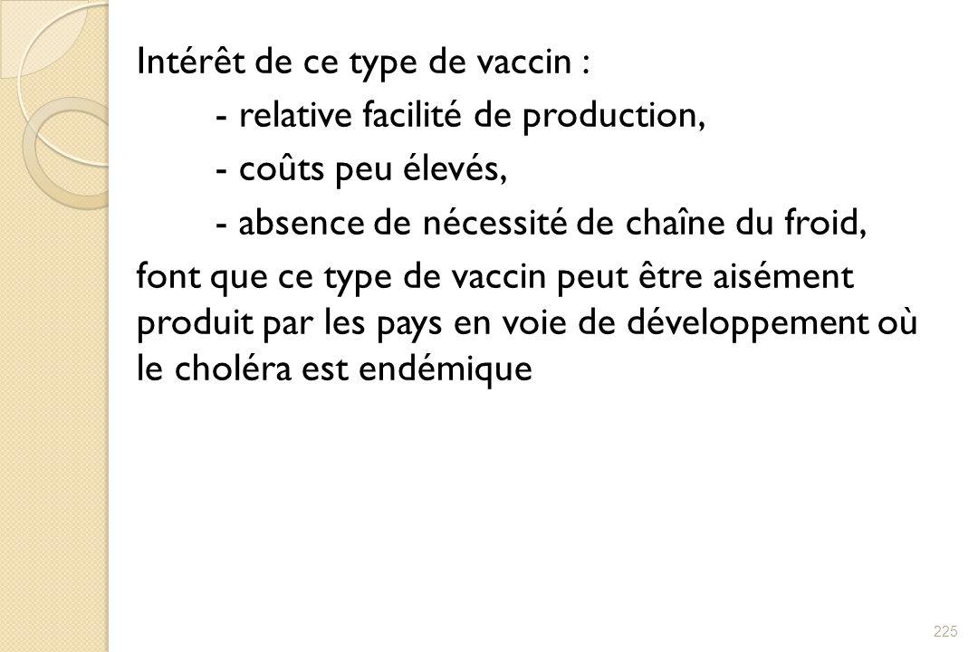 Intérêt de ce type de vaccin : - relative facilité de production, - coûts peu élevés, - absence de nécessité de chaîne du froid, font que ce type de vaccin peut être aisément produit par les pays en voie de développement où le choléra est endémique