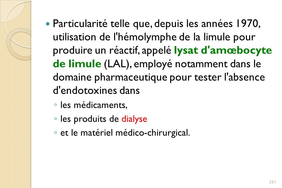 Particularité telle que, depuis les années 1970, utilisation de l hémolymphe de la limule pour produire un réactif, appelé lysat d amœbocyte de limule (LAL), employé notamment dans le domaine pharmaceutique pour tester l absence d endotoxines dans