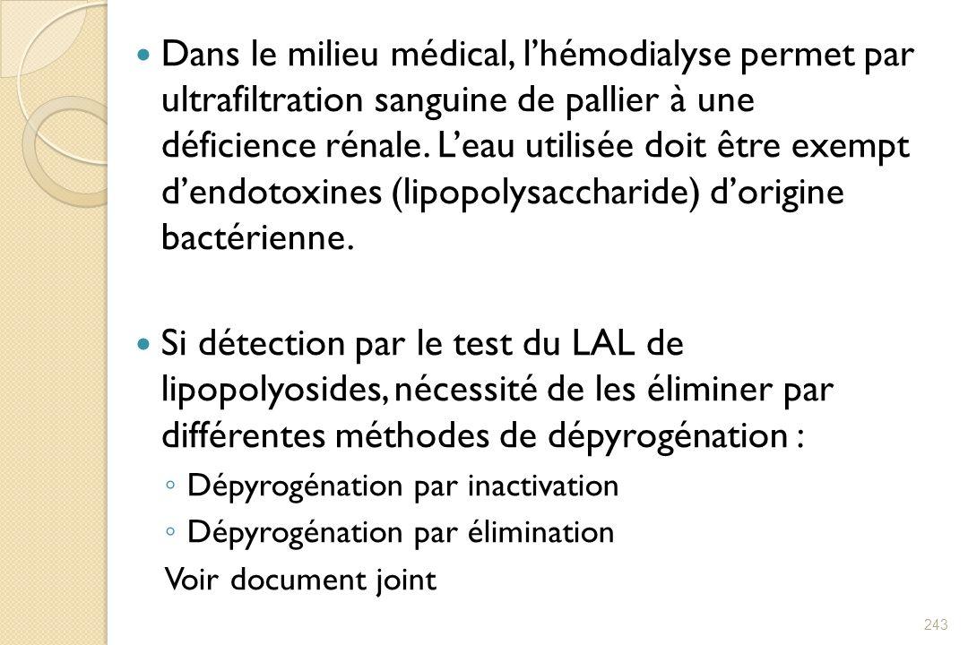 Dans le milieu médical, l'hémodialyse permet par ultrafiltration sanguine de pallier à une déficience rénale. L'eau utilisée doit être exempt d'endotoxines (lipopolysaccharide) d'origine bactérienne.