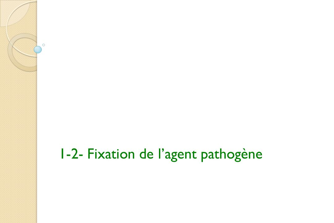 1-2- Fixation de l'agent pathogène