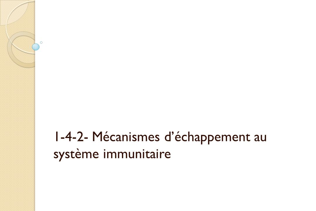 1-4-2- Mécanismes d'échappement au système immunitaire