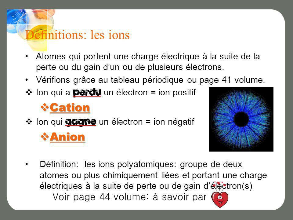 Définitions: les ions Cation Anion Voir page 44 volume: à savoir par